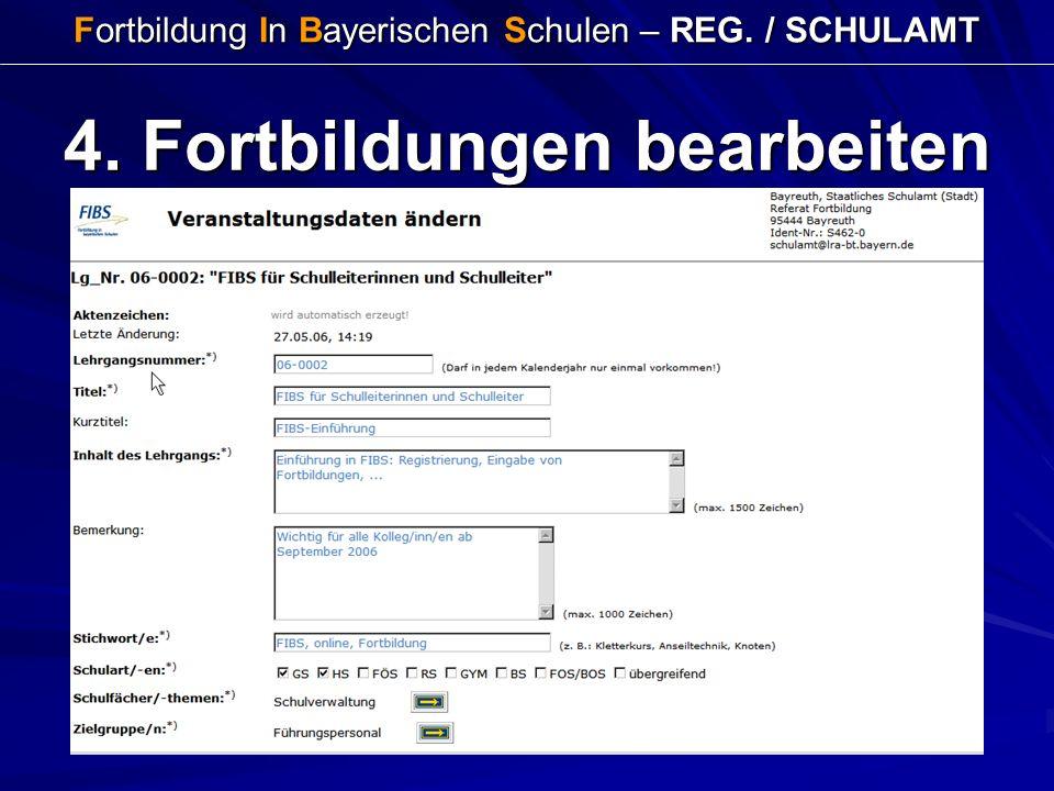 Fortbildung In Bayerischen Schulen – REG. / SCHULAMT 4. Fortbildungen bearbeiten