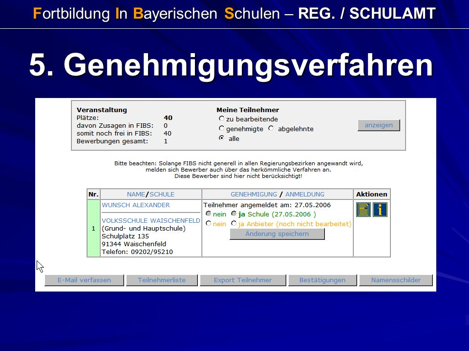 Fortbildung In Bayerischen Schulen – REG. / SCHULAMT 5. Genehmigungsverfahren