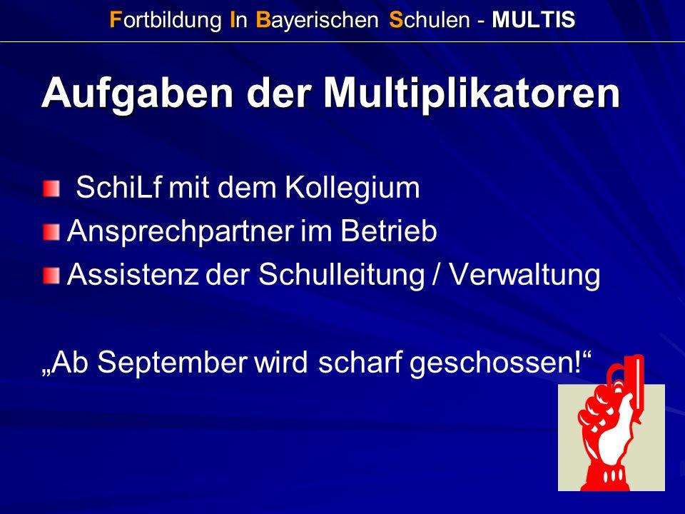 Fortbildung In Bayerischen Schulen - MULTIS Aufgaben der Multiplikatoren SchiLf mit dem Kollegium Ansprechpartner im Betrieb Assistenz der Schulleitun