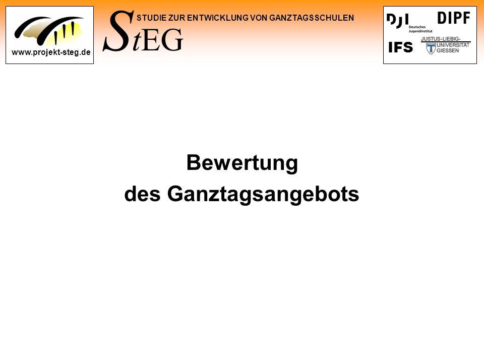 S tEG STUDIE ZUR ENTWICKLUNG VON GANZTAGSSCHULEN www.projekt-steg.de IFS Bewertung des Ganztagsangebots