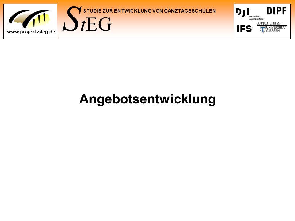 S tEG STUDIE ZUR ENTWICKLUNG VON GANZTAGSSCHULEN www.projekt-steg.de IFS Angebotsentwicklung