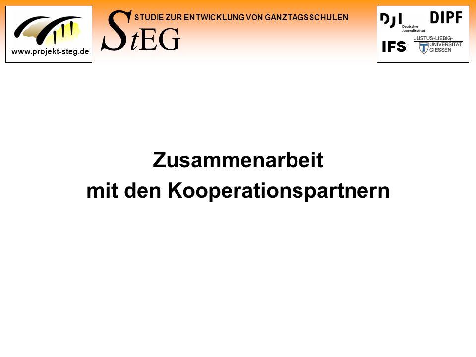S tEG STUDIE ZUR ENTWICKLUNG VON GANZTAGSSCHULEN www.projekt-steg.de IFS Zusammenarbeit mit den Kooperationspartnern