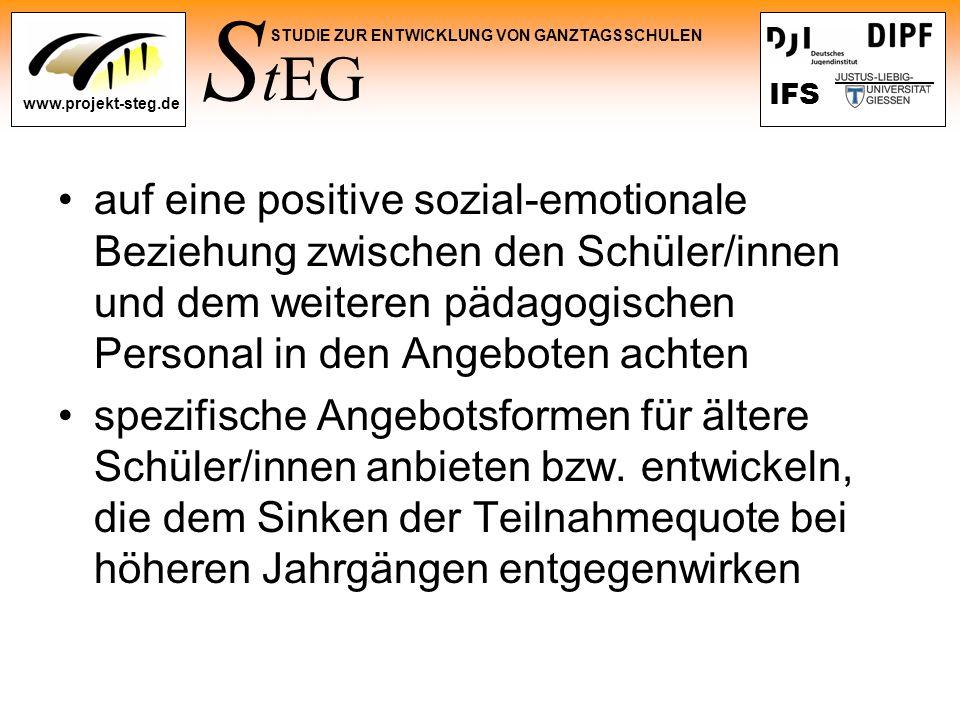 S tEG STUDIE ZUR ENTWICKLUNG VON GANZTAGSSCHULEN www.projekt-steg.de IFS auf eine positive sozial-emotionale Beziehung zwischen den Schüler/innen und