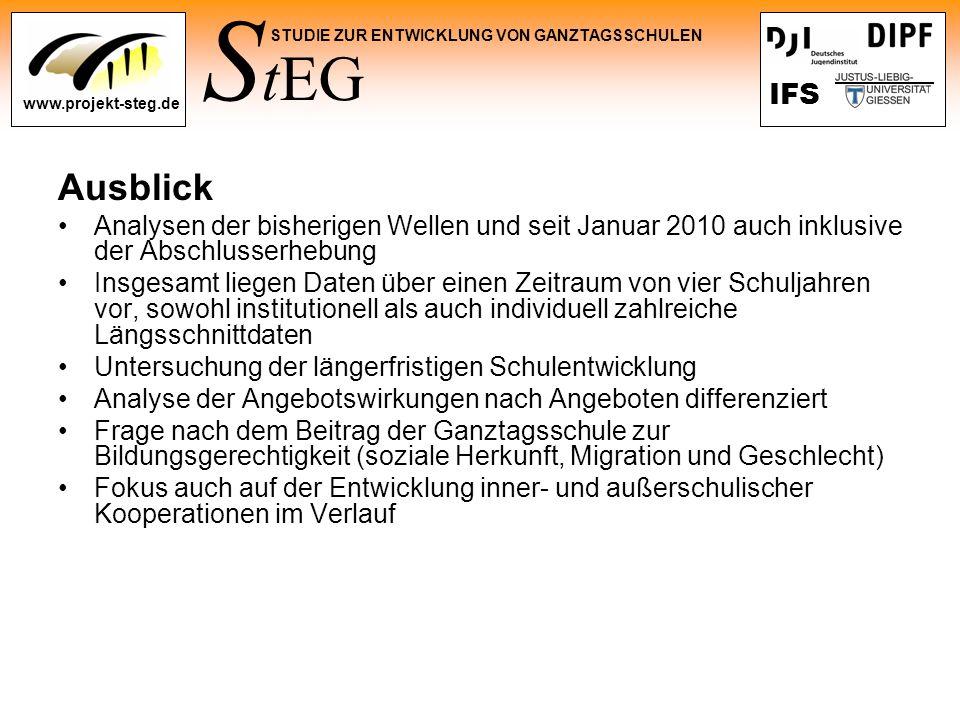 S tEG STUDIE ZUR ENTWICKLUNG VON GANZTAGSSCHULEN www.projekt-steg.de IFS Ausblick Analysen der bisherigen Wellen und seit Januar 2010 auch inklusive d