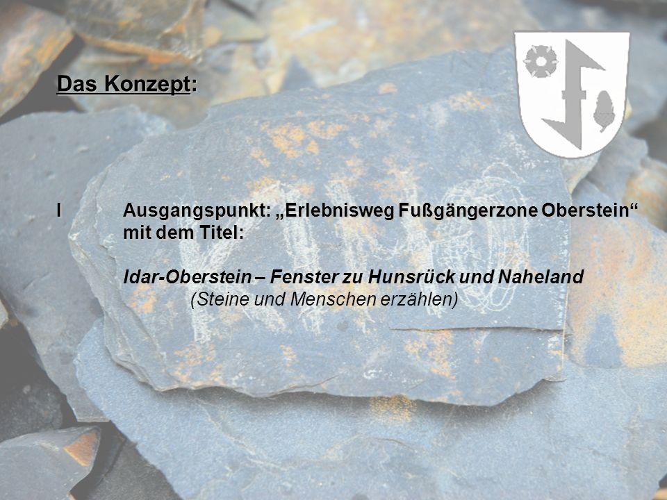 Das Konzept: IAusgangspunkt: Erlebnisweg Fußgängerzone Oberstein mit dem Titel: Idar-Oberstein – Fenster zu Hunsrück und Naheland (Steine und Menschen