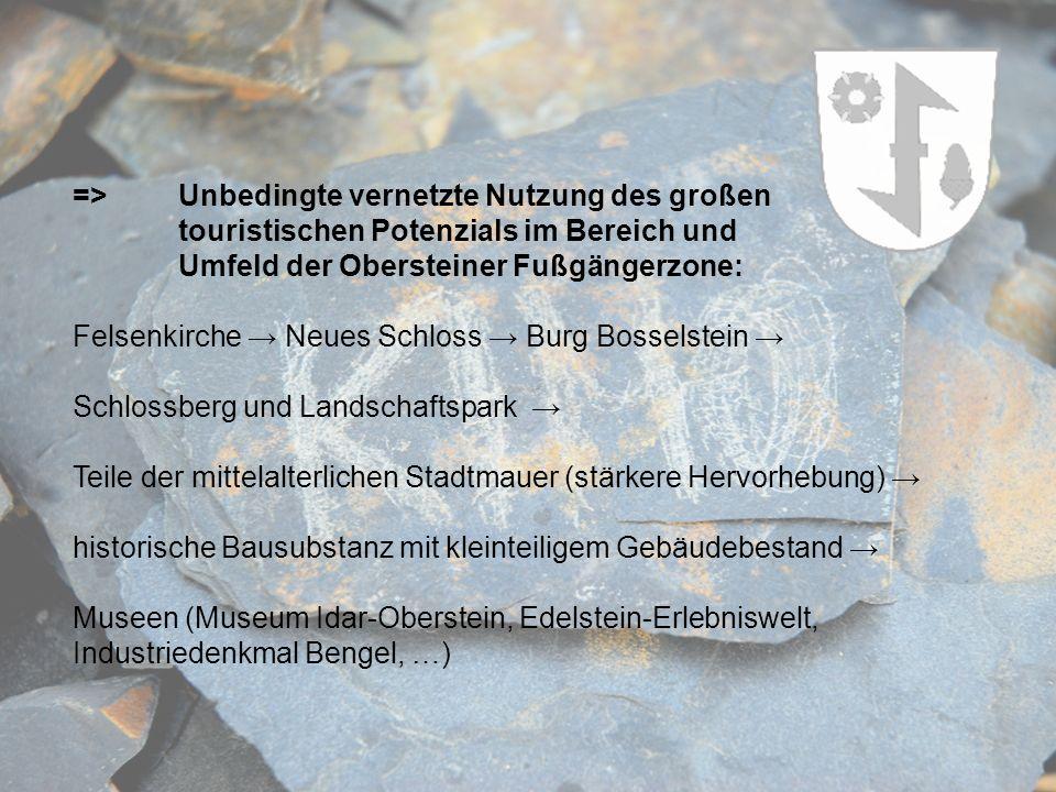 => Unbedingte vernetzte Nutzung des großen touristischen Potenzials im Bereich und Umfeld der Obersteiner Fußgängerzone: Felsenkirche Neues Schloss Bu