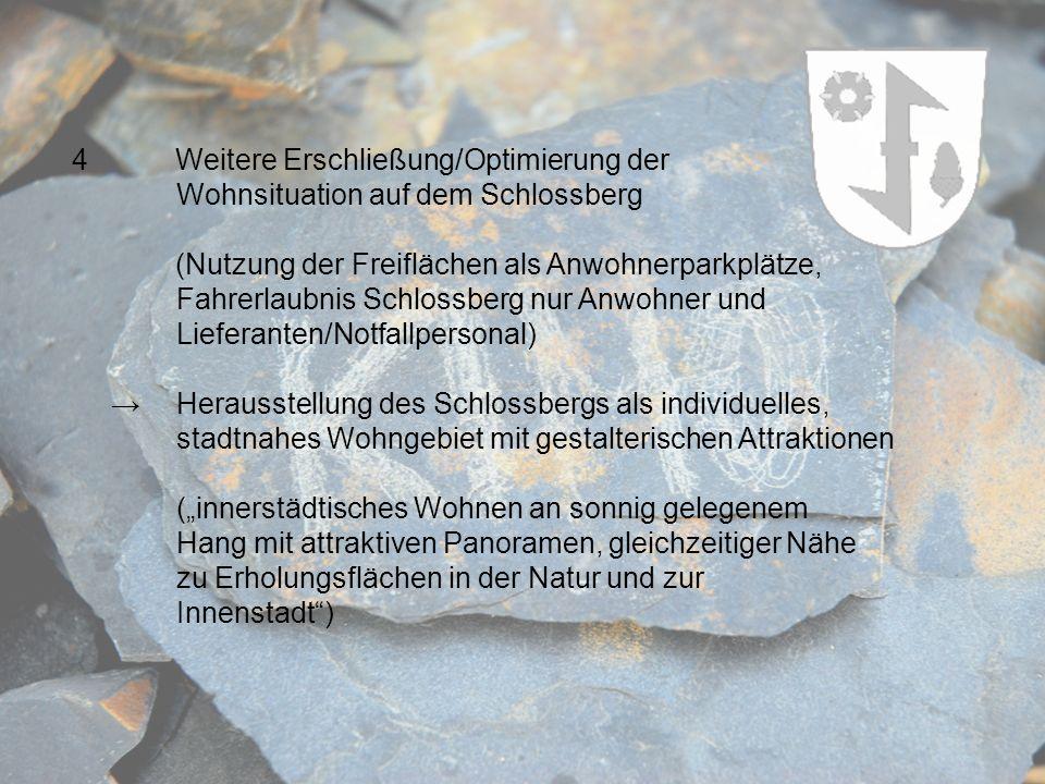 4 Weitere Erschließung/Optimierung der Wohnsituation auf dem Schlossberg (Nutzung der Freiflächen als Anwohnerparkplätze, Fahrerlaubnis Schlossberg nu