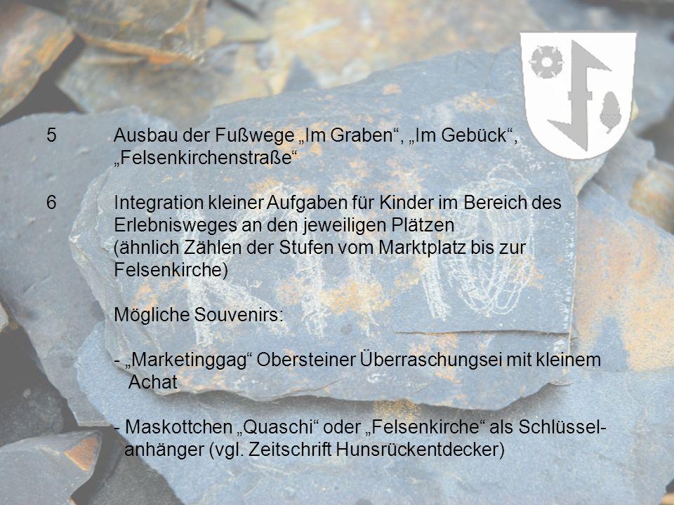 5Ausbau der Fußwege Im Graben, Im Gebück, Felsenkirchenstraße 6Integration kleiner Aufgaben für Kinder im Bereich des Erlebnisweges an den jeweiligen