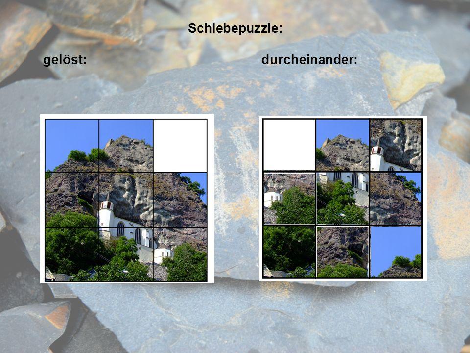 Schiebepuzzle: gelöst: durcheinander: