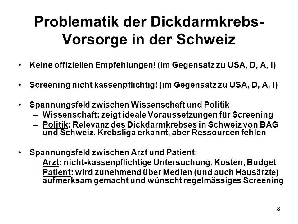 8 Problematik der Dickdarmkrebs- Vorsorge in der Schweiz Keine offiziellen Empfehlungen! (im Gegensatz zu USA, D, A, I) Screening nicht kassenpflichti