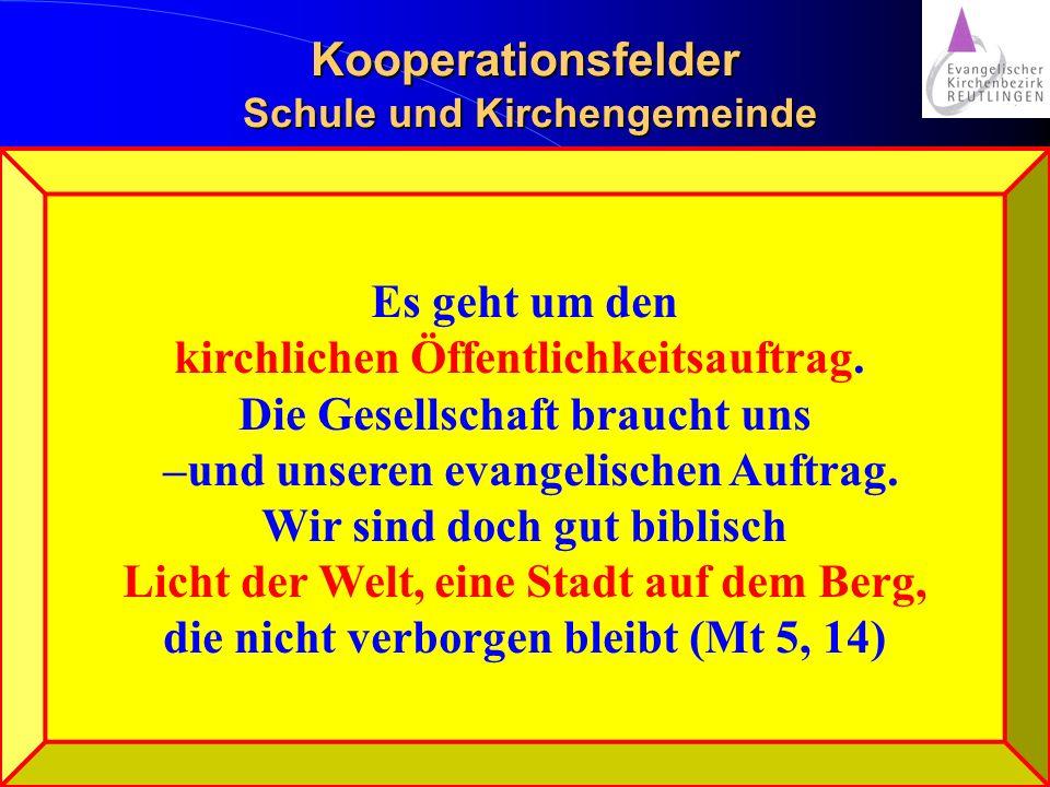 Kooperationsfelder Schule und Kirchengemeinde Aber vorsicht: Oins ums andere.