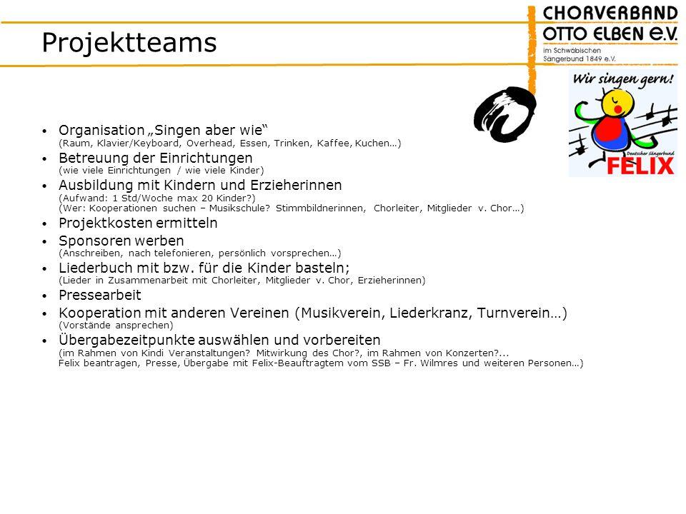 Projektteams Organisation Singen aber wie (Raum, Klavier/Keyboard, Overhead, Essen, Trinken, Kaffee, Kuchen…) Betreuung der Einrichtungen (wie viele E