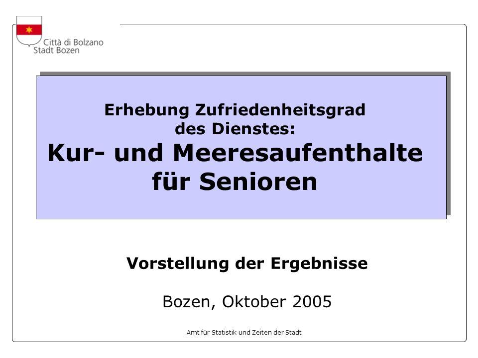 Amt für Statistik und Zeiten der Stadt Erhebung Zufriedenheitsgrad des Dienstes: Kur- und Meeresaufenthalte für Senioren Vorstellung der Ergebnisse Bozen, Oktober 2005