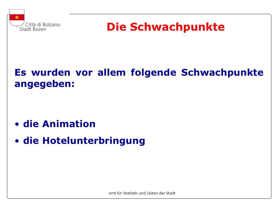 Amt für Statistik und Zeiten der Stadt die Animation die Hotelunterbringung Die Schwachpunkte Es wurden vor allem folgende Schwachpunkte angegeben: