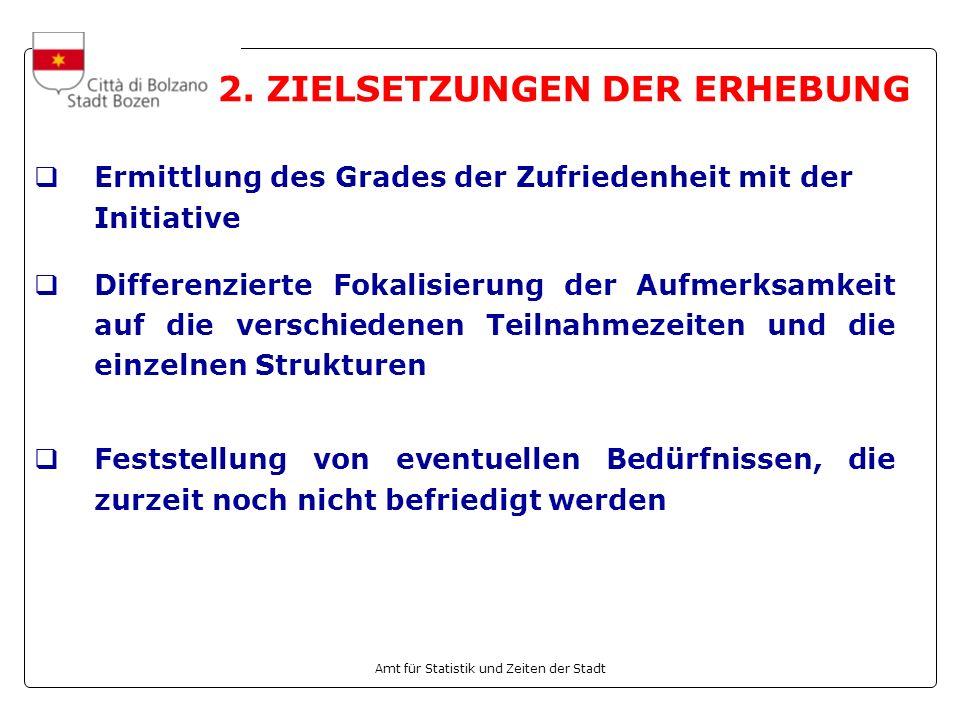 Amt für Statistik und Zeiten der Stadt 2. ZIELSETZUNGEN DER ERHEBUNG Ermittlung des Grades der Zufriedenheit mit der Initiative Differenzierte Fokalis