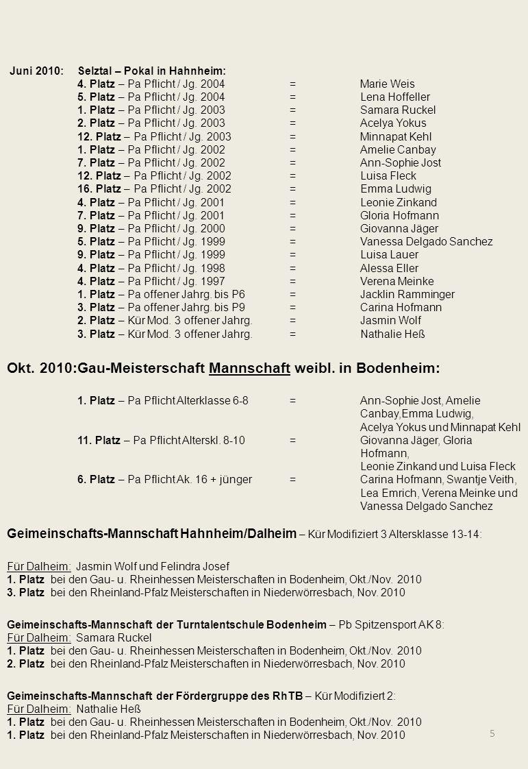 5 Juni 2010:Selztal – Pokal in Hahnheim: 4. Platz – Pa Pflicht / Jg. 2004=Marie Weis 5. Platz – Pa Pflicht / Jg. 2004=Lena Hoffeller 1. Platz – Pa Pfl
