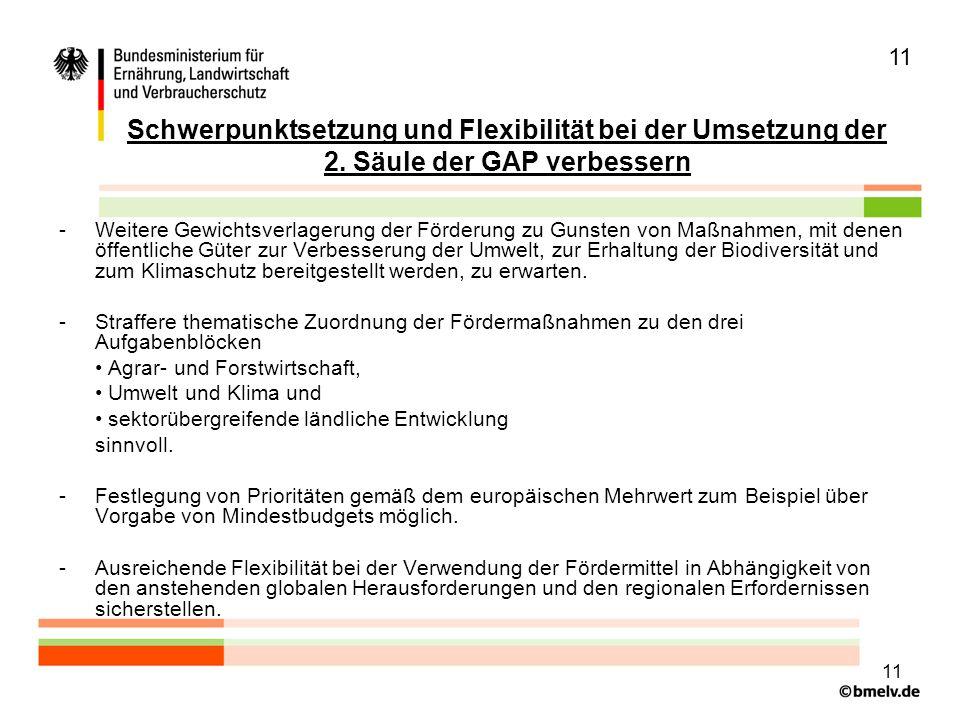 11 Schwerpunktsetzung und Flexibilität bei der Umsetzung der 2.