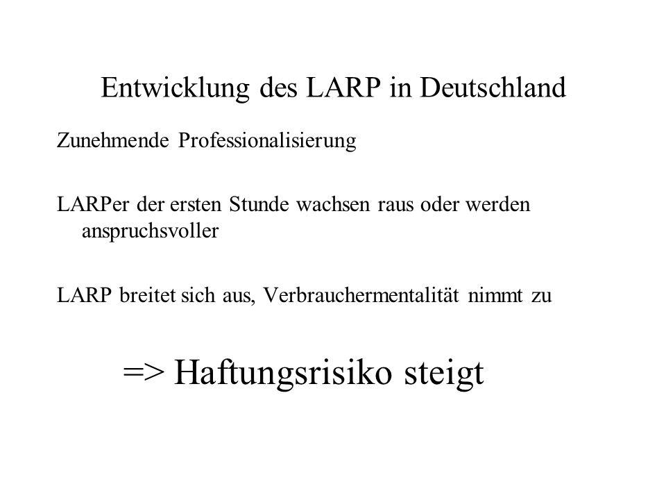 Entwicklung des LARP in Deutschland Zunehmende Professionalisierung LARPer der ersten Stunde wachsen raus oder werden anspruchsvoller LARP breitet sich aus, Verbrauchermentalität nimmt zu => Haftungsrisiko steigt