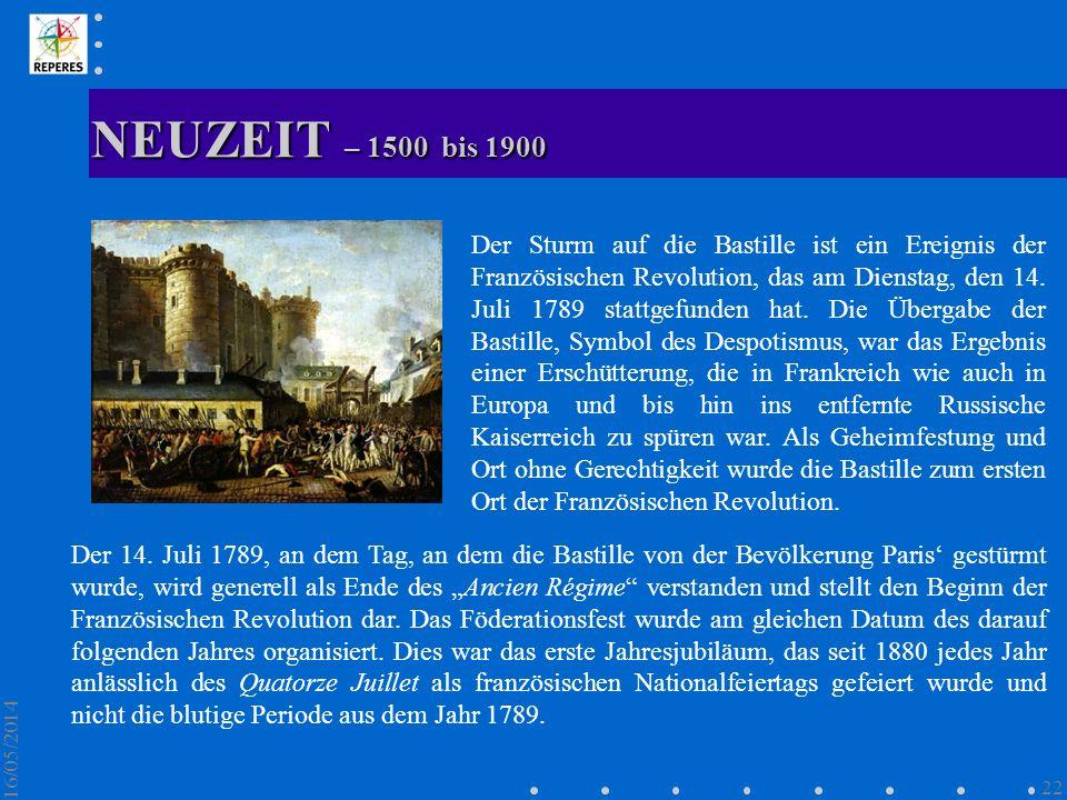 NEUZEIT – 1500 bis 1900 16/05/2014 22 Der Sturm auf die Bastille ist ein Ereignis der Französischen Revolution, das am Dienstag, den 14. Juli 1789 sta