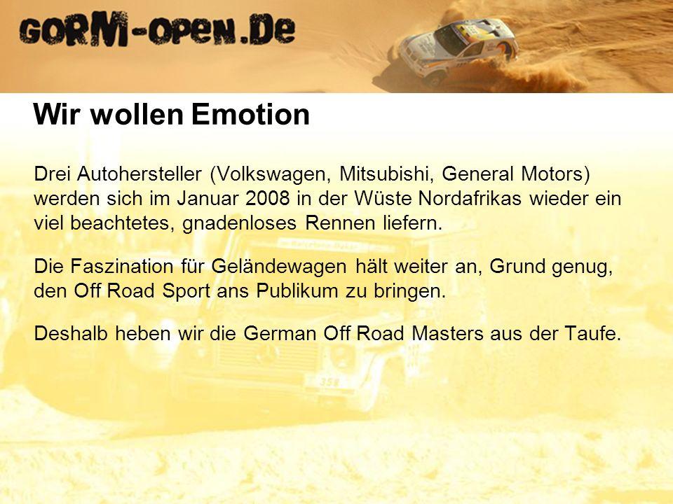 Drei Autohersteller (Volkswagen, Mitsubishi, General Motors) werden sich im Januar 2008 in der Wüste Nordafrikas wieder ein viel beachtetes, gnadenloses Rennen liefern.