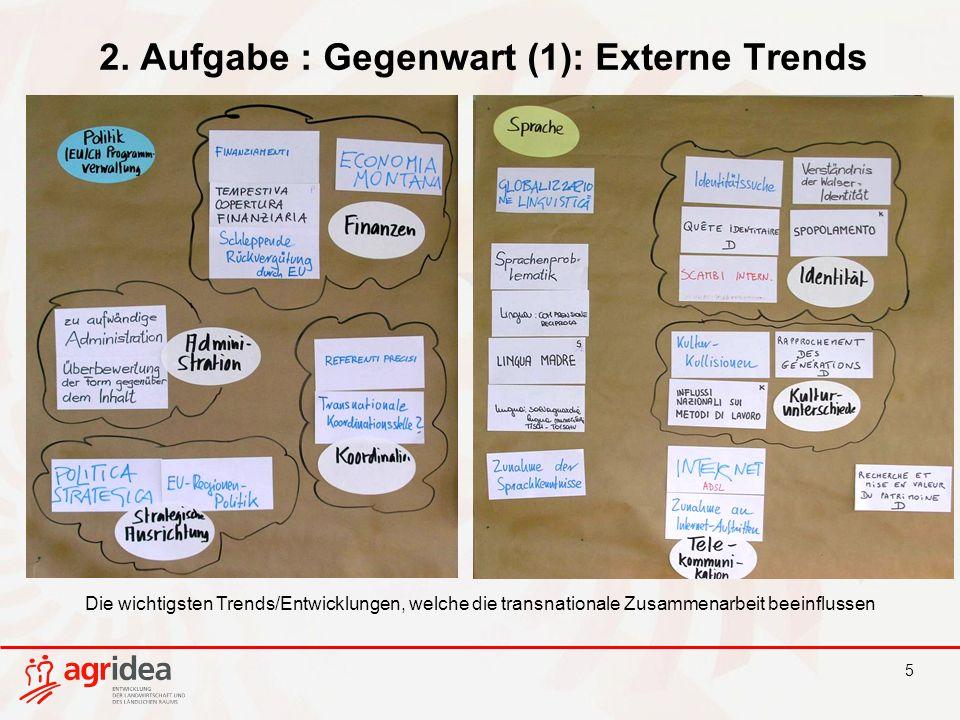 5 2. Aufgabe : Gegenwart (1): Externe Trends Die wichtigsten Trends/Entwicklungen, welche die transnationale Zusammenarbeit beeinflussen