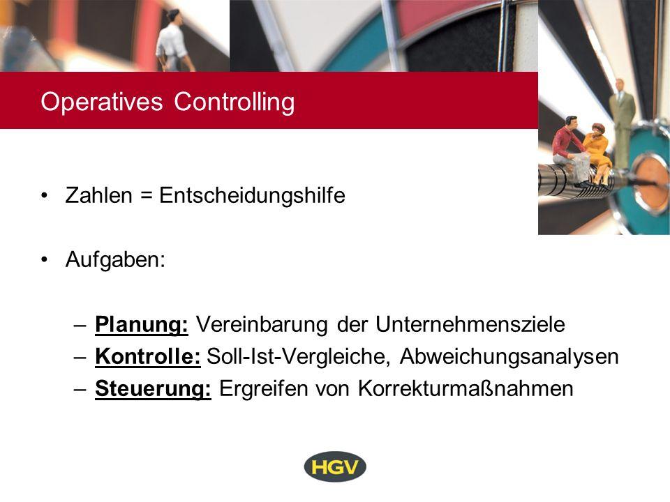 Operatives Controlling Zahlen = Entscheidungshilfe Aufgaben: –Planung: Vereinbarung der Unternehmensziele –Kontrolle: Soll-Ist-Vergleiche, Abweichungs
