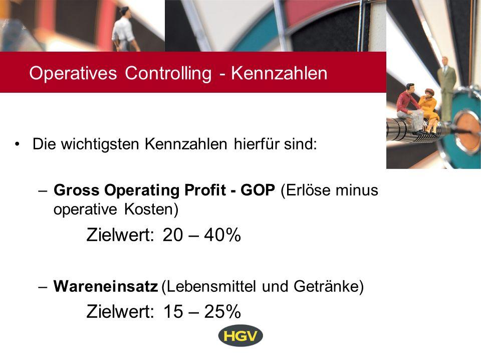 Operatives Controlling - Kennzahlen Die wichtigsten Kennzahlen hierfür sind: –Gross Operating Profit - GOP (Erlöse minus operative Kosten) Zielwert: 2