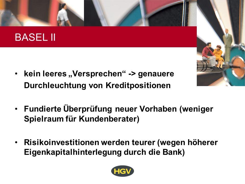 BASEL II kein leeres Versprechen -> genauere Durchleuchtung von Kreditpositionen Fundierte Überprüfung neuer Vorhaben (weniger Spielraum für Kundenber