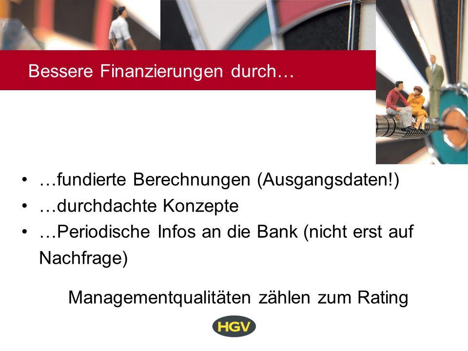 Bessere Finanzierungen durch… …fundierte Berechnungen (Ausgangsdaten!) …durchdachte Konzepte …Periodische Infos an die Bank (nicht erst auf Nachfrage)
