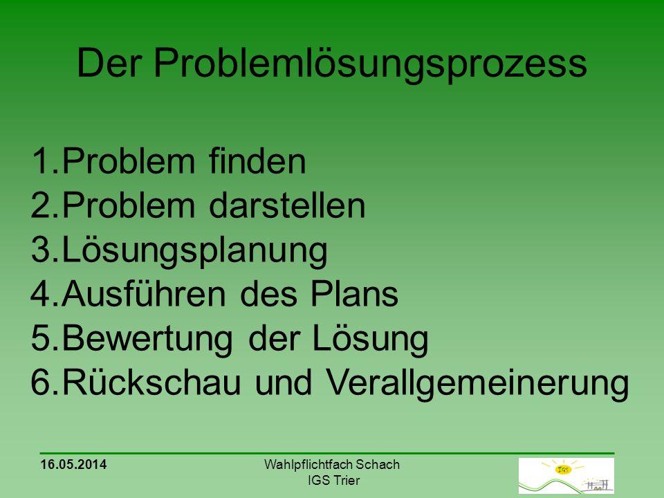Der Problemlösungsprozess 16.05.2014Wahlpflichtfach Schach IGS Trier 1.Problem finden 2.Problem darstellen 3.Lösungsplanung 4.Ausführen des Plans 5.Bewertung der Lösung 6.Rückschau und Verallgemeinerung