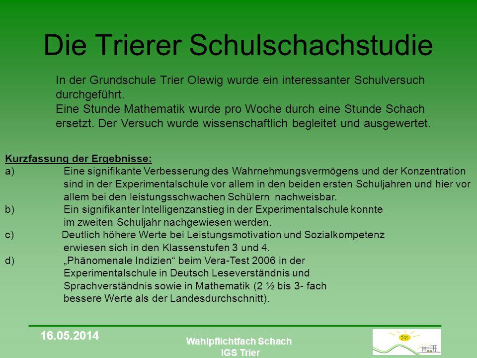 Wahlpflichtfach Schach IGS Trier Besonderheiten Unser Konzept