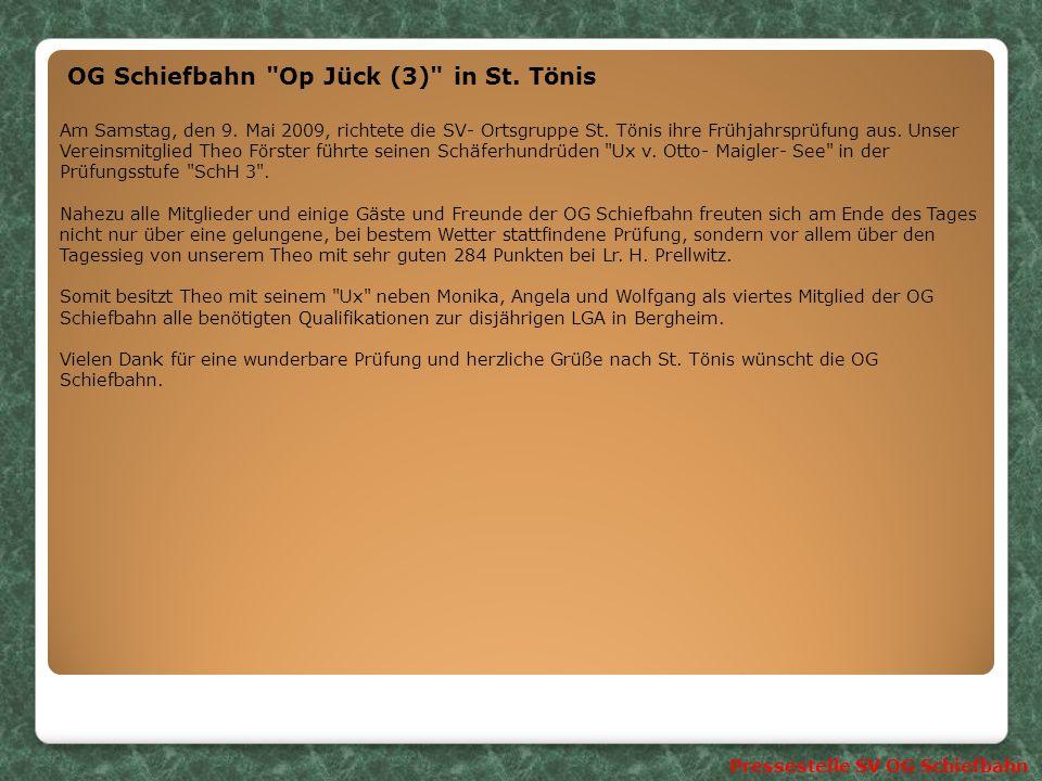 Pressestelle SV OG Schiefbahn SV OG St.