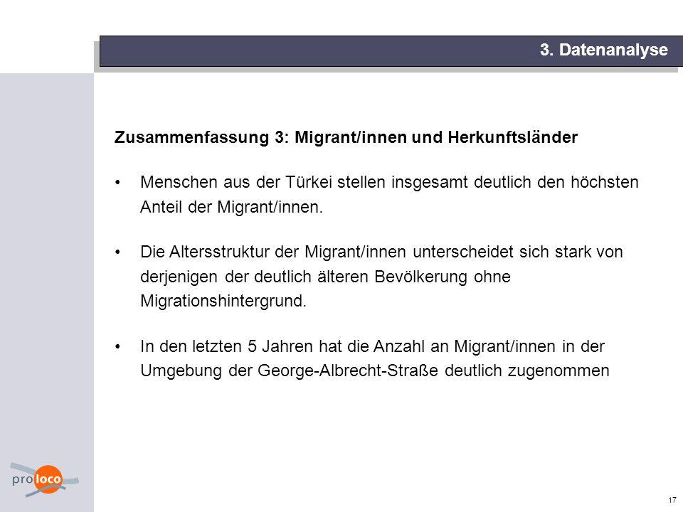 17 3. Datenanalyse Zusammenfassung 3: Migrant/innen und Herkunftsländer Menschen aus der Türkei stellen insgesamt deutlich den höchsten Anteil der Mig