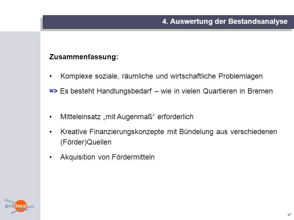 47 Zusammenfassung: Komplexe soziale, räumliche und wirtschaftliche Problemlagen => Es besteht Handlungsbedarf – wie in vielen Quartieren in Bremen Mi