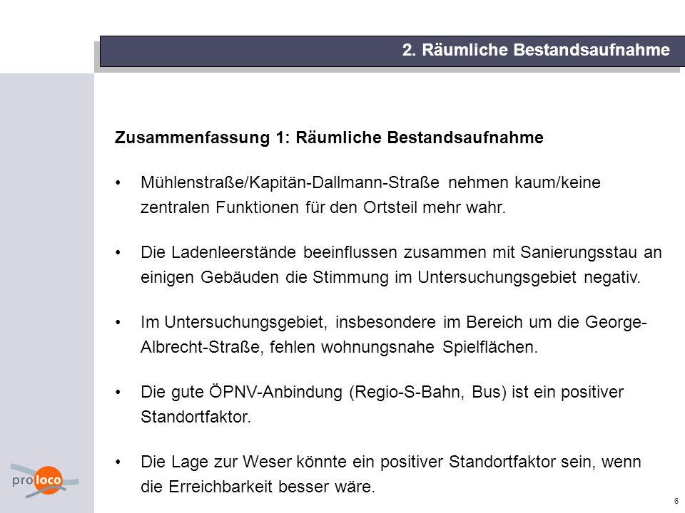 6 Zusammenfassung 1: Räumliche Bestandsaufnahme Mühlenstraße/Kapitän-Dallmann-Straße nehmen kaum/keine zentralen Funktionen für den Ortsteil mehr wahr