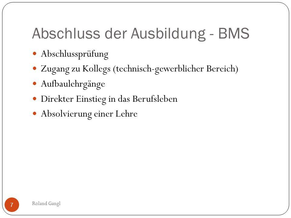 Abschluss der Ausbildung - BMS Abschlussprüfung Zugang zu Kollegs (technisch-gewerblicher Bereich) Aufbaulehrgänge Direkter Einstieg in das Berufslebe