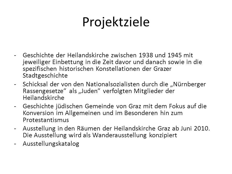 Projektziele -Geschichte der Heilandskirche zwischen 1938 und 1945 mit jeweiliger Einbettung in die Zeit davor und danach sowie in die spezifischen historischen Konstellationen der Grazer Stadtgeschichte -Schicksal der von den Nationalsozialisten durch die Nürnberger Rassengesetze als Juden verfolgten Mitglieder der Heilandskirche -Geschichte jüdischen Gemeinde von Graz mit dem Fokus auf die Konversion im Allgemeinen und im Besonderen hin zum Protestantismus -Ausstellung in den Räumen der Heilandskirche Graz ab Juni 2010.