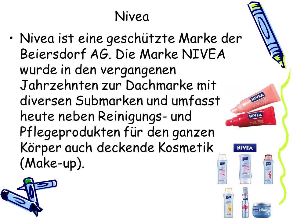 Nivea Nivea ist eine geschützte Marke der Beiersdorf AG. Die Marke NIVEA wurde in den vergangenen Jahrzehnten zur Dachmarke mit diversen Submarken und