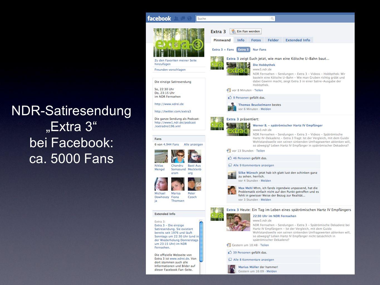 NDR-Satiresendung Extra 3 bei Facebook: ca. 5000 Fans