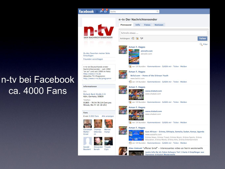 n-tv bei Facebook ca. 4000 Fans