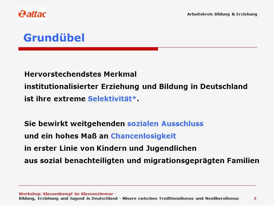 Arbeitskreis Bildung & Erziehung Workshop: Klassenkampf im Klassenzimmer - Bildung, Erziehung und Jugend in Deutschland - Misere zwischen Traditionali