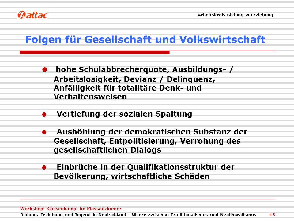 Workshop: Klassenkampf im Klassenzimmer - Bildung, Erziehung und Jugend in Deutschland - Misere zwischen Traditionalismus und Neoliberalismus 16 hohe