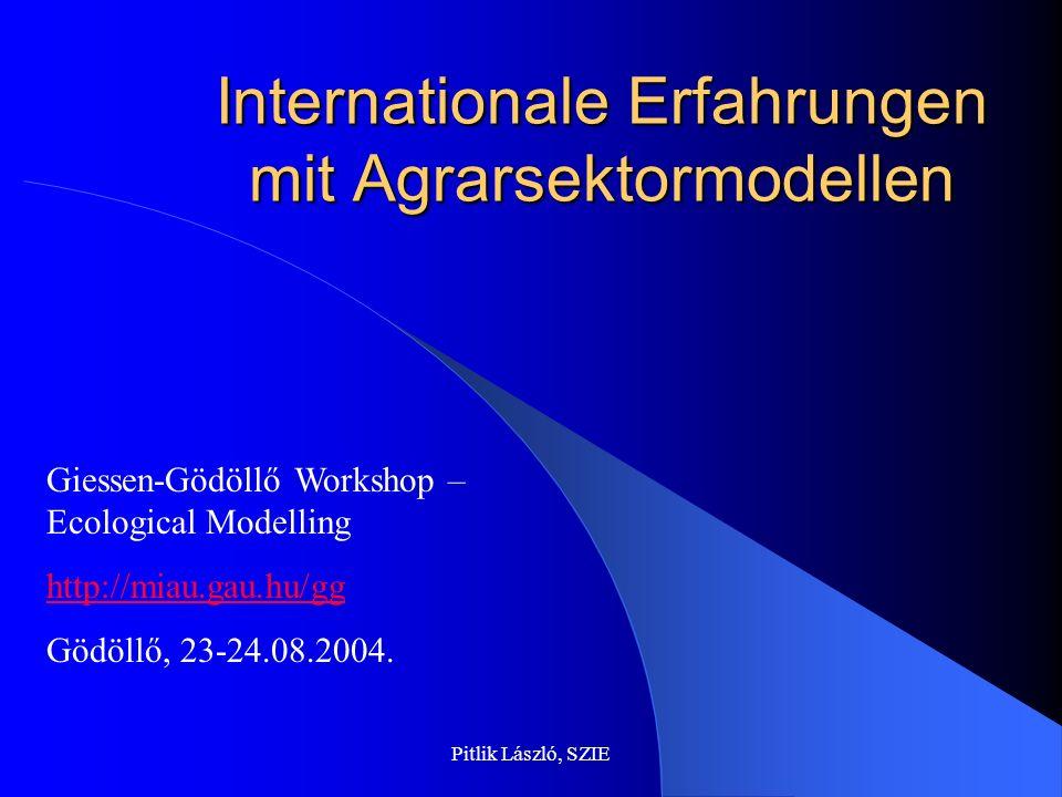 Pitlik László, SZIE Internationale Erfahrungen mit Agrarsektormodellen Giessen-Gödöllő Workshop – Ecological Modelling http://miau.gau.hu/gg Gödöllő, 23-24.08.2004.