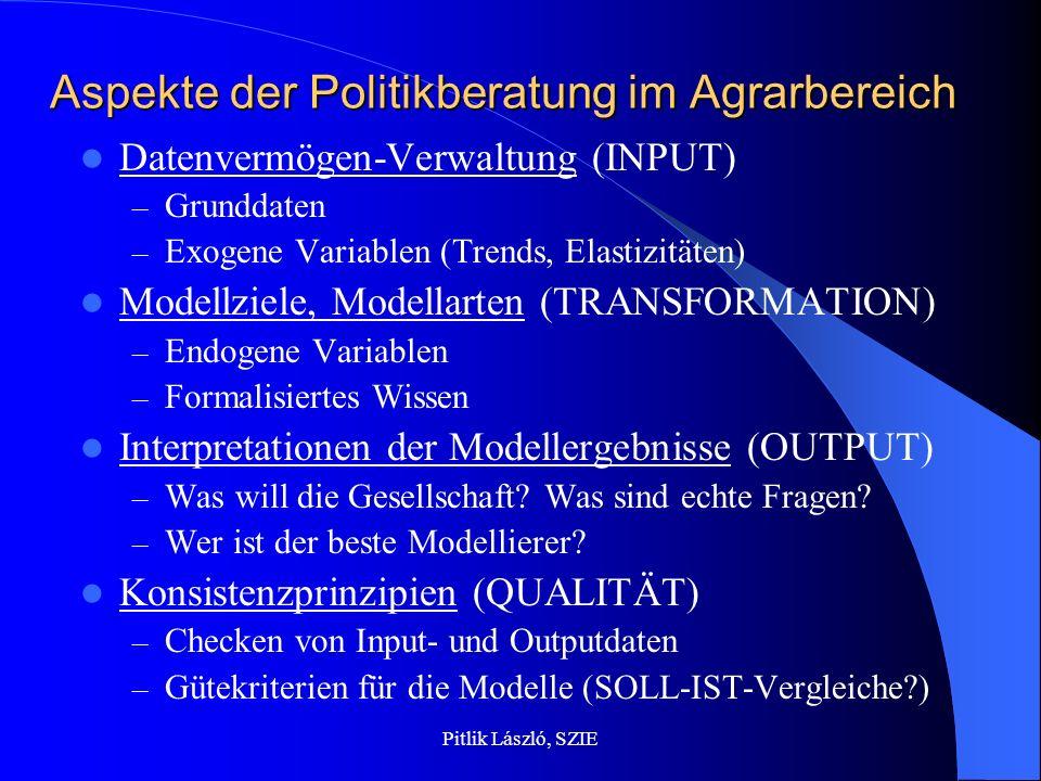 Pitlik László, SZIE Datenvermögen-Verwaltung Es gibt keine national oder international abgesicherte Datengrundlage für Agrarsektormodelle, nicht einmal im GIS-Bereich.