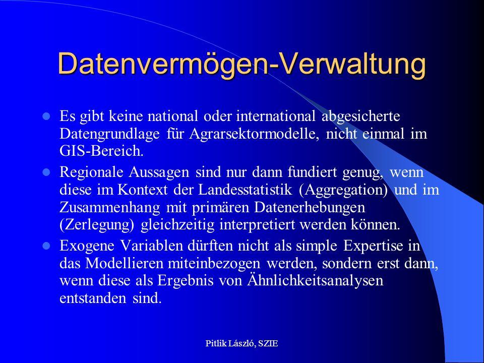 Pitlik László, SZIE Datenvermögen-Verwaltung Es gibt keine national oder international abgesicherte Datengrundlage für Agrarsektormodelle, nicht einma
