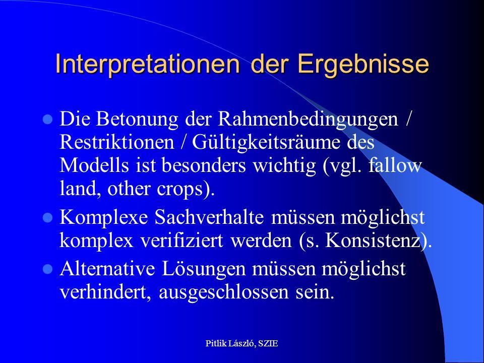 Pitlik László, SZIE Interpretationen der Ergebnisse Die Betonung der Rahmenbedingungen / Restriktionen / Gültigkeitsräume des Modells ist besonders wi