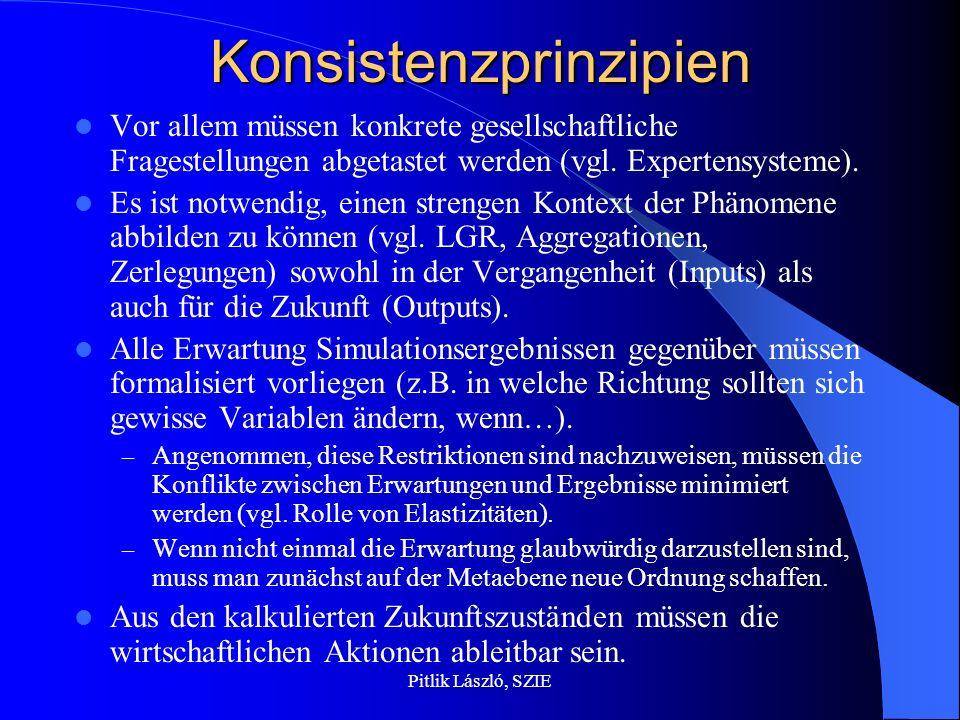 Pitlik László, SZIEKonsistenzprinzipien Vor allem müssen konkrete gesellschaftliche Fragestellungen abgetastet werden (vgl.