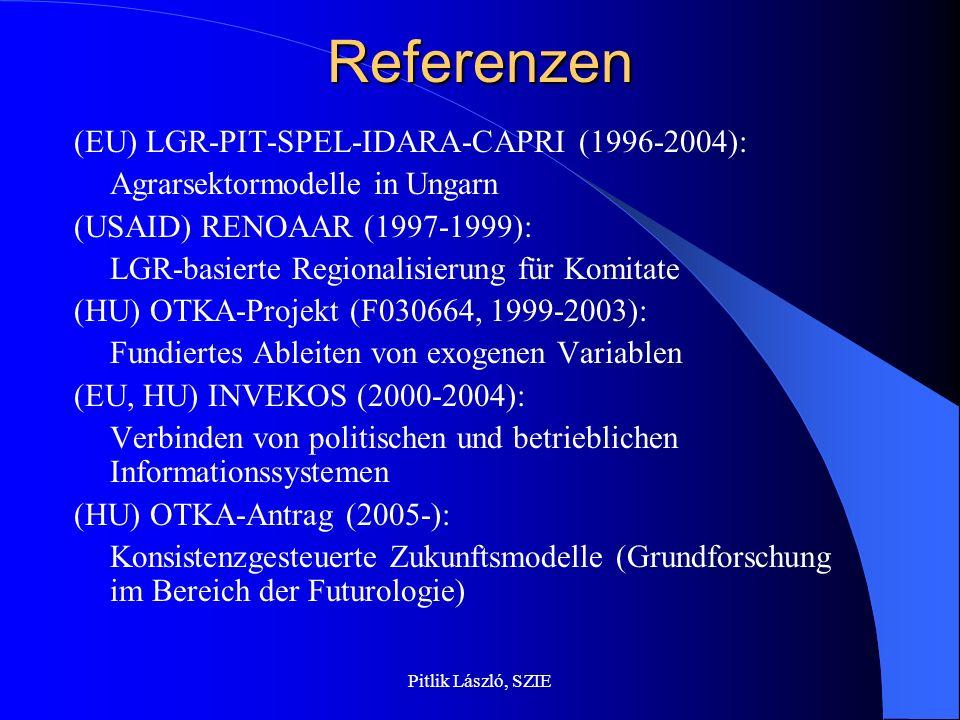 Pitlik László, SZIEReferenzen (EU) LGR-PIT-SPEL-IDARA-CAPRI (1996-2004): Agrarsektormodelle in Ungarn (USAID) RENOAAR (1997-1999): LGR-basierte Regionalisierung für Komitate (HU) OTKA-Projekt (F030664, 1999-2003): Fundiertes Ableiten von exogenen Variablen (EU, HU) INVEKOS (2000-2004): Verbinden von politischen und betrieblichen Informationssystemen (HU) OTKA-Antrag (2005-): Konsistenzgesteuerte Zukunftsmodelle (Grundforschung im Bereich der Futurologie)