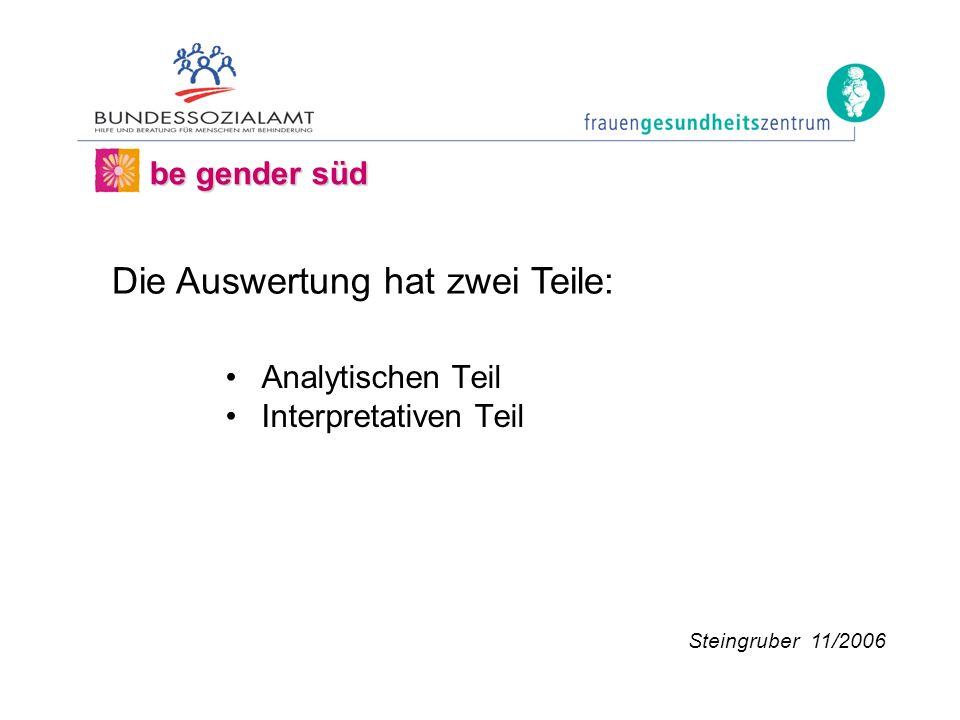 Analytischen Teil Interpretativen Teil be gender süd Steingruber 11/2006 Die Auswertung hat zwei Teile: