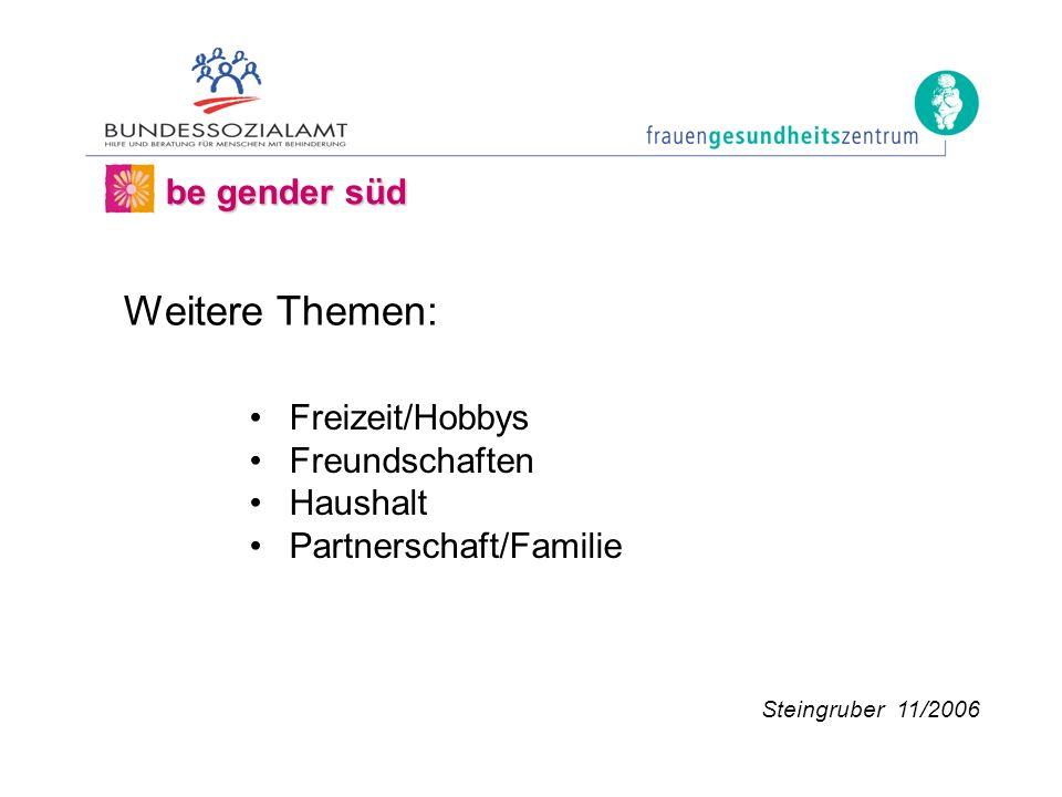 Freizeit/Hobbys Freundschaften Haushalt Partnerschaft/Familie be gender süd Steingruber 11/2006 Weitere Themen: